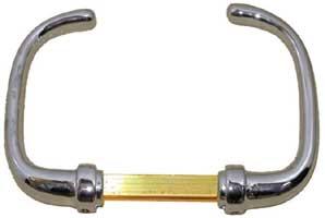 Maniglia doppia per serrature in ottone cromato