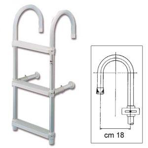 Scaletta in tubo alluminio anodizzato a  3 gradini