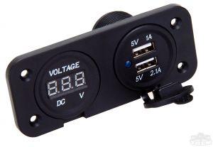 Doppia presa USB + Voltmetro