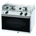 Cucina a gas in acc. Inox con forno a 2 fuochi